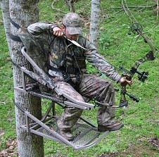 Man hunting with bow in tree