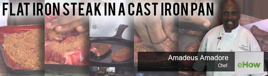 Flat Iron Steak in a Cast Iron Pan